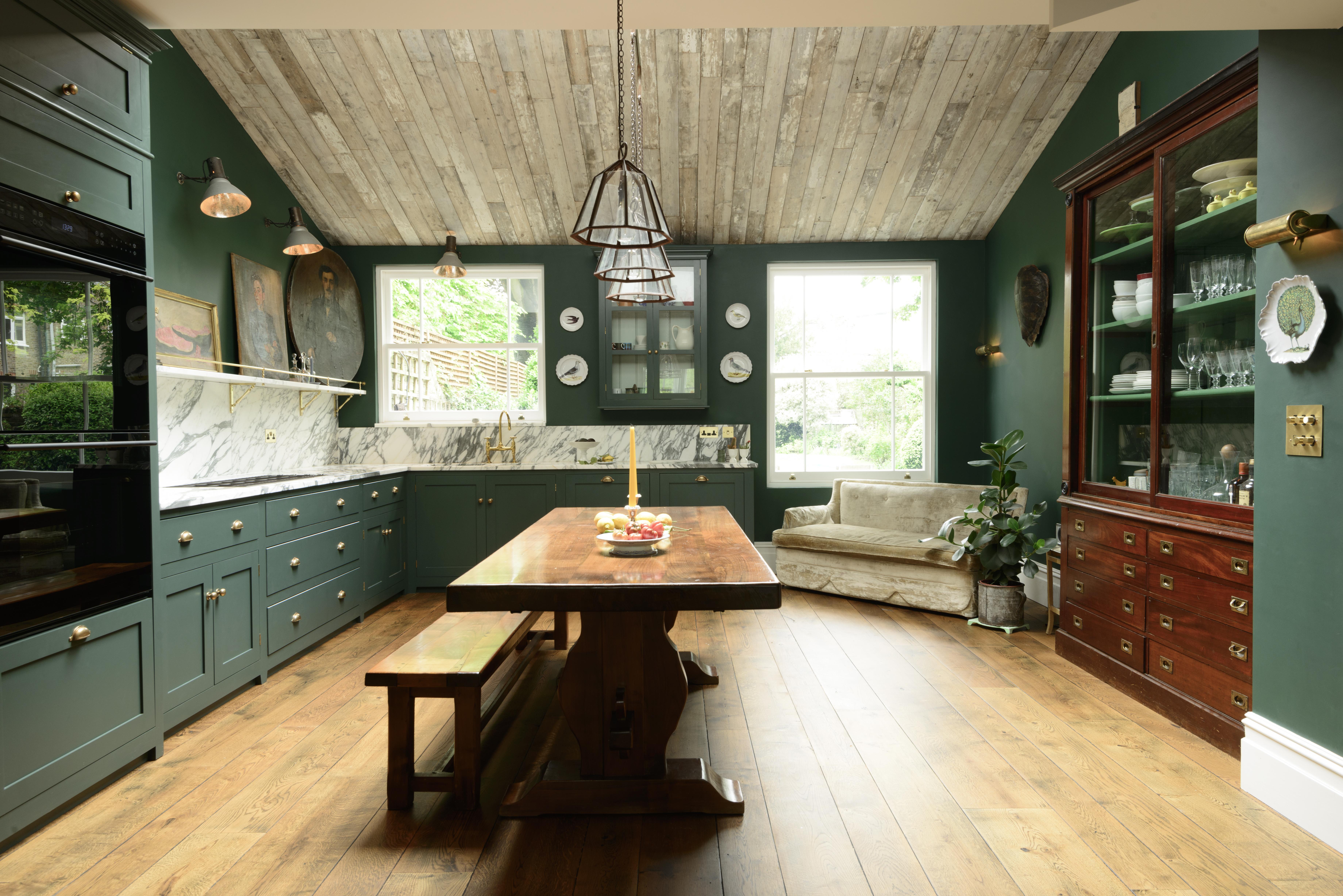 green shaker kitchen marble splashback by Devol Kitchens
