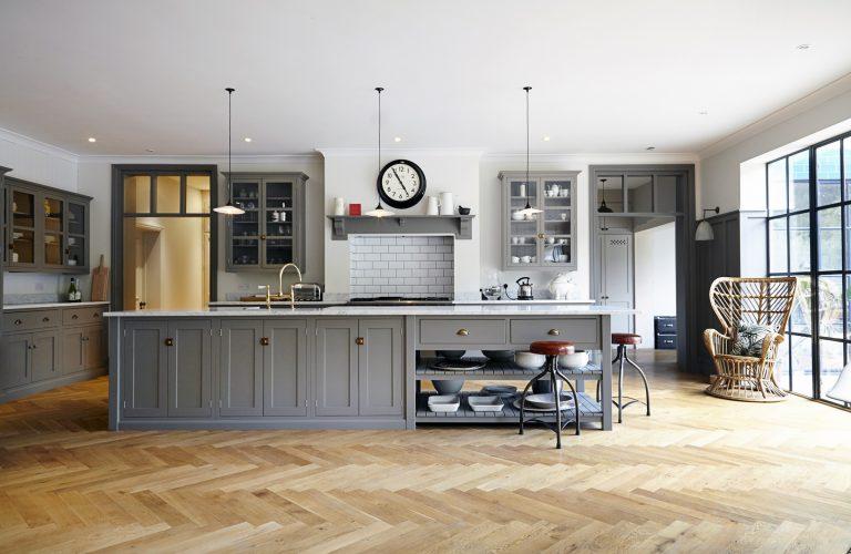 grey shaker kitchen herringbone wooden floor