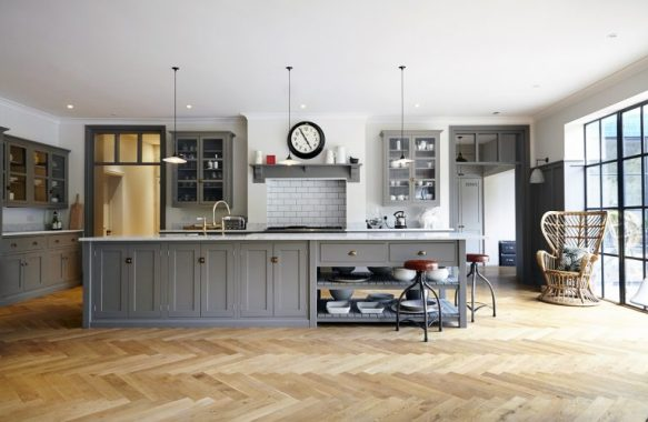 grey shaker kitchen herringbone wooden floor