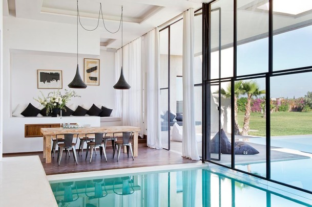 Indoor outdoor pool in holiday villa