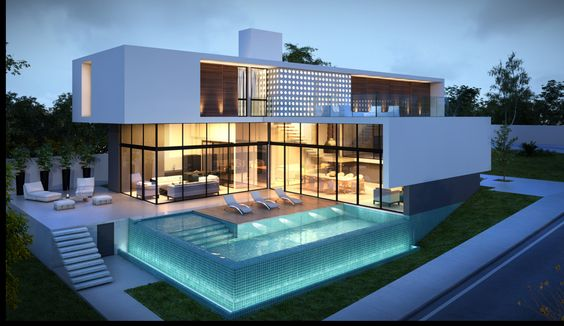 Modern house with glass pool